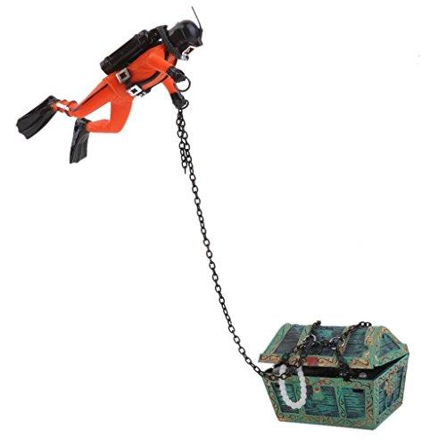 Outfun 水槽用 人工 水族館 飾り 装飾 風景 アクアリウム エアシステム デコレーション トレジャーダイバー柄 トレジャー ダイバー