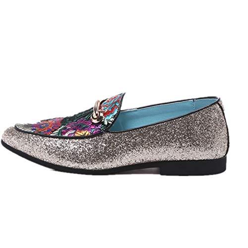 Casual Suede Shoe Fashian Retro Oxford for Männer Stickerei Loafers Schuhe mit Metallschnalle Dekor Beleg auf Mikrofaser Leder Stich Glitzernde Pailletten Herren Sneaker