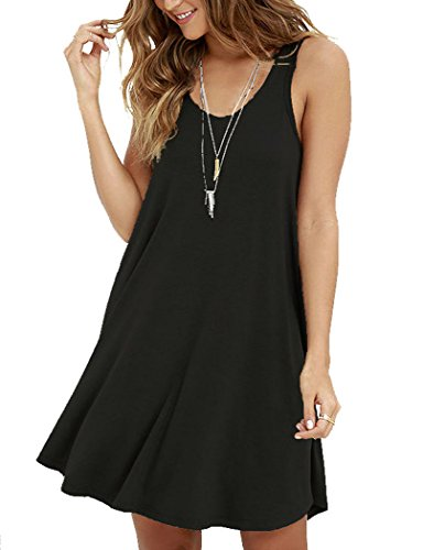 MOLERANI Women's Casual Swing Simple T-Shirt Loose Dress, Black