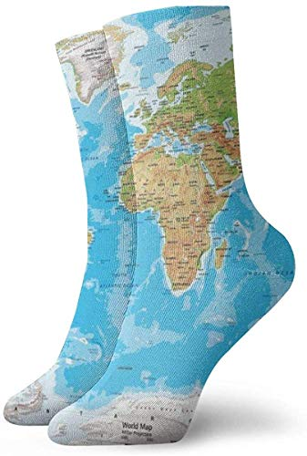 KLING Novedad Unisex 3D Gran Mapa del Mundo Impreso Divertido Calcetines Deportivos