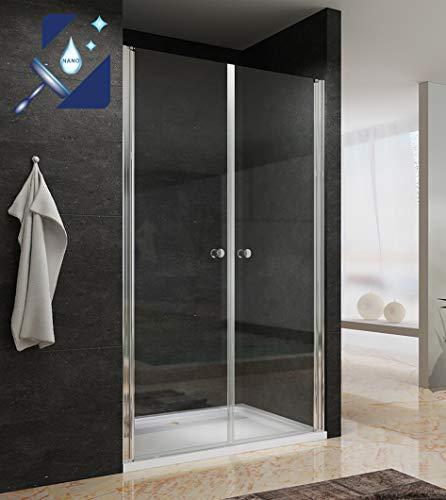 AQUABATOS® Pendeltür Dusche 110cm breite aus 6mm ESG Echtglas mit Lotus Effekt Nanobeschichtung, Nischentür Duschtür in Nische Doppel Schwingtür Duschabtrennung Duschwand Glas klar Höhe 195cm
