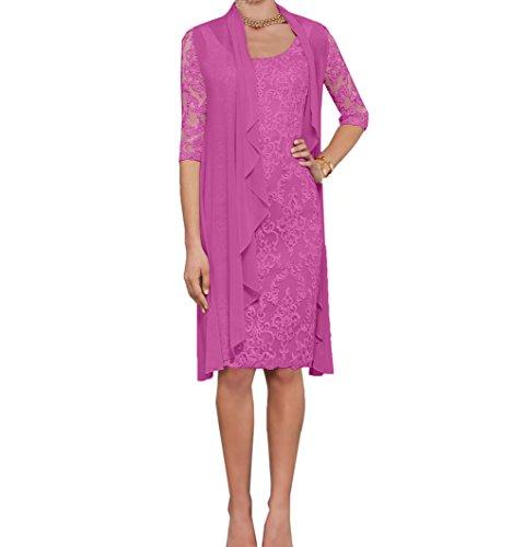 Charmant Damen Damen rosa Spitze Abendkleider Etuikleider Brautmutterkleider mit Langarm Bolero-40 rosa