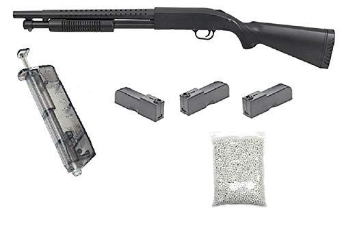 KOSxBO realistische Airsoft Schrotflinte, schwarz - Länge 920mm- Kaliber 6mm - <0,5J - Ink. 3 Magazinen, Speedloader und 6MM Premium BBS - Terminator PUMPGUN - Shot Gun - Softair Pumpguns