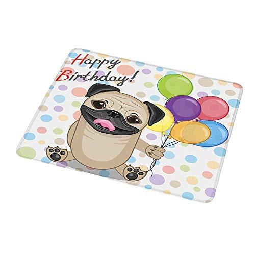 Computertastatur Maus Matte Kinder Geburtstag, Tier Netter Hund Lächeln Mops Mit Party Luftballons Grußkarte Inspiriertes Design, Mehrfarbig Für Magische Maus
