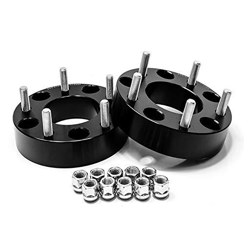 "Smart Parts 2 Qty Black Wheel Spacers 2"" Thick 5x5.5 to 5x5.5 Bolt Pattern with 1/2""-20 Studs for Dodge Ram 1500, Ford F100 F150 E100 E150 Bronco, Jeep CJ3 CJ5 CJ6 CJ7 Scrambler"