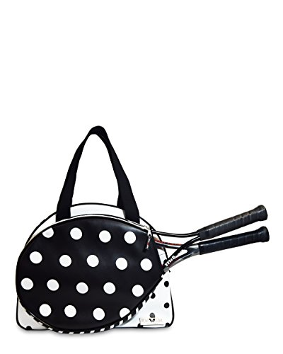 Bolsa Tenis de Mujer - Raquetero de Tenis Mujer - Bolsillo para Raquetas de Tenis - Bolsa Impermeable - Ideal para Guardar Zapatillas, Ropa y Pelotas de Tenis - Color Negro/Blanco - 42x19x31cm