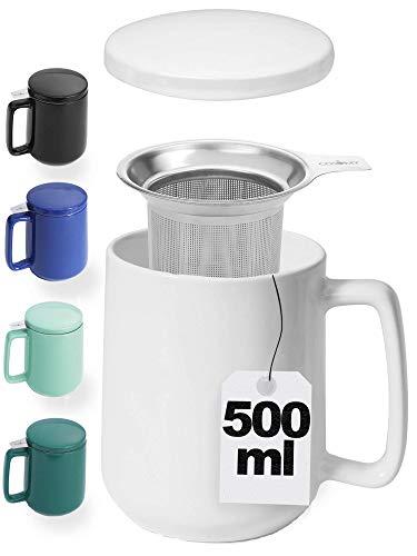 Taza de Te con Filtro, Tapa y Asa - De Ceramica Blanca - XXL 500ml Grande - Mantiene la Infusion Caliente