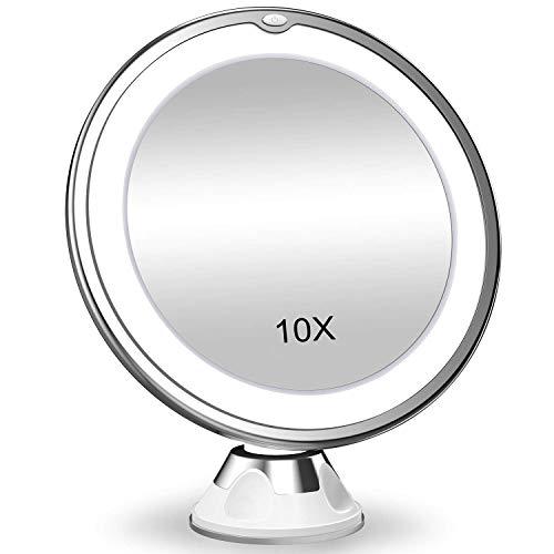 Versione 2021 aggiornata 10X ingrandimento trucco Vanity specchio con luci, LED illuminato portatile mano ingrandimento cosmetico illuminano specchi per casa tavolo bagno doccia viaggio (20,3 cm)