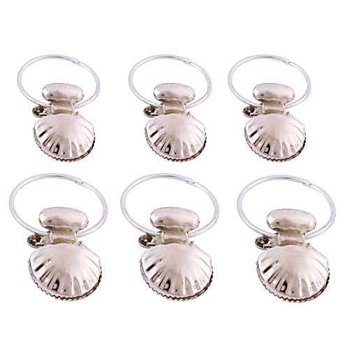 WHLJKN Curtain ring,6pcs Stainless Steel Curtain Hook Clips Shell Window Bathroom Shower Curtain Rings Drapery Clips Curtain Accessories Decor,A