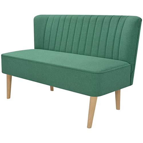 Festnight- 2-Sitzer Lounge Sofa Kleines Couch Wohnzimmersofa Stoffsofa Polstersofa mit Holzrahmen 117x55,5x77cm für Wohnzimmer Schlafzimmer Büro, Blau/Grün/Gelb