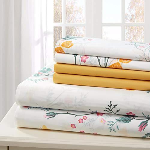 Traditional Home Sheet Set Cotton Percale 6 Piece Print Twin Full Queen King Soft (Yellow Flower, Queen)