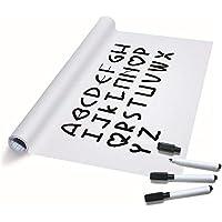 TTMOW Vinilo Pizarra Blanca Adhesiva para Escribir y Borrar (Incluye 3 Rotuladores para Pizarra), 60 x 200 cm, Color Blanca