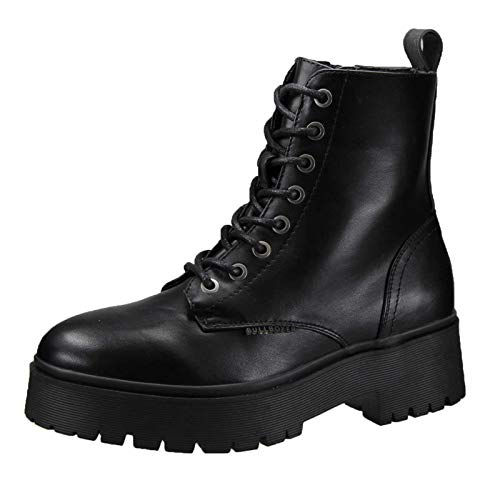BULLBOXER Damen Stiefel, Frauen Schnürstiefel,Boots,Combat Boots,Schnürung, Boots Combat schnürung Freizeit,Schwarz,37 EU / 4 UK