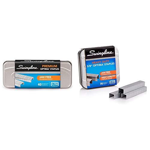 "Swingline Staples, Optima, Premium, 1/4"" Length, Jam Free Staples & Desktop, 1 Pack & Staples, Optima, Heavy Duty, 3/8"" Length, Jam Free, 125/Strip, 2500/Box, 1 Box"