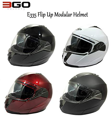 3GO NEW MODEL E335 FULL FACE MOTORBIKE MOTORCYCLE CRASH MODULAR ECE APPROVED ACU SPORTS DOUBLE VISOR ADULTS SOLID WHITE 61-62 CM XL