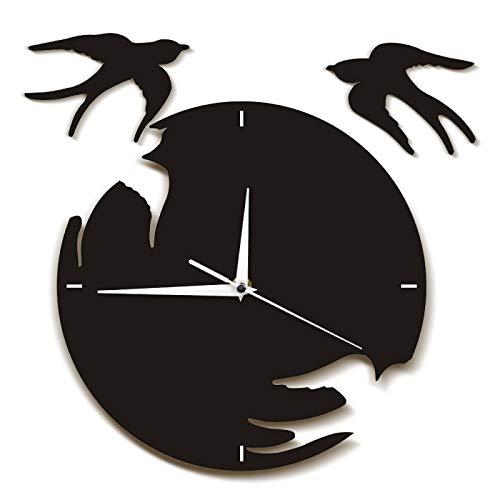xinxin Wanduhr Schwalben Wanduhr Vögel flogen Weg Moderne Wandkunst Fliegende Vögel Kunstwerk Natürliche Wohnkultur Hängende Wanduhr Schwalben Geschenk Für Home Office Schule