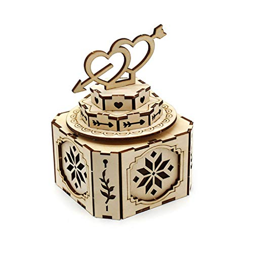 Music Box Rompecabezas de madera de montaje 3D, caja de música creativa, caja de tesoros de juguete de bricolaje Modelo de ingeniería mecánica Modelo de ingeniería mecánica Kits de construcción Musica