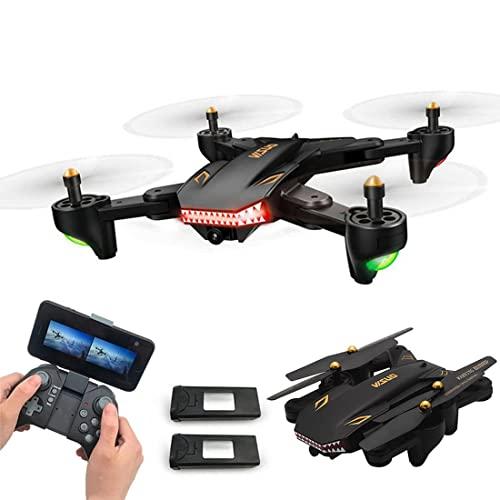 JJDSN WiFi FPV Drone 720P Telecamera HD grandangolare Video in Diretta Quadricottero RC Pieghevole e 2 batterie, Mantenimento dell'altitudine modalità Senza Testa One Key off/Landing Controllo App