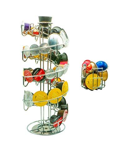 Soporte para cápsulas Dispensador de cápsulas para 57 cápsulas de café Nespresso 35 Dolce Gusto Tchibo Krups | almacenamiento adicional en caja de cápsulas extra | soporte giratorio universal cromado