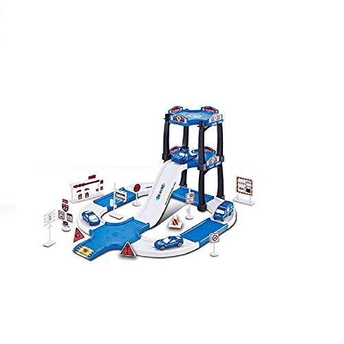 COSMOLINO Polizei Parkgarage und Parkhaus für Kinder mit 2 Spielzeugautos und 2 Hubschrauber, Parkhaus Kinder ab 3 Jahre, Garage Kinder, Rennbahn Set