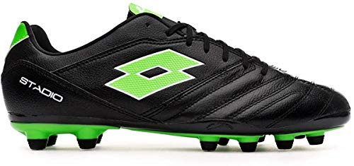 Lotto Stadio 300 II FG, Bota de fútbol, All Black-Spring Green, Talla 10 US (43 EU)
