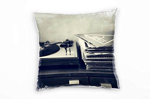 Paul Sinus Art Vintage, platen, platenspeler, grijs decoratief kussen 40 x 40 cm voor bank bank bank lounge sierkussen - decoratie om je goed te voelen