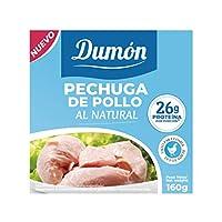 Riche en Protéines: Les poitrines de poulet Dumón contiennent plus de 50% de protéines par rapport aux autres marques. Avec 26 grammes de protéines pour 100 grammes de notre délicieux poulet en conserve, savourez un aliment à 99% sans gras et sans gl...