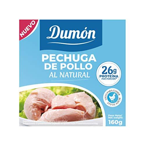 Dumón - 18 Unidades de 160 gr de Conservas de Pechugas de Pollo en su Propio Jugo o Agua. Alimento Enlatado Alto en Proteínas, 26 gr cada 100 gr de Pollo Natural. Abre Fácil. 🔥