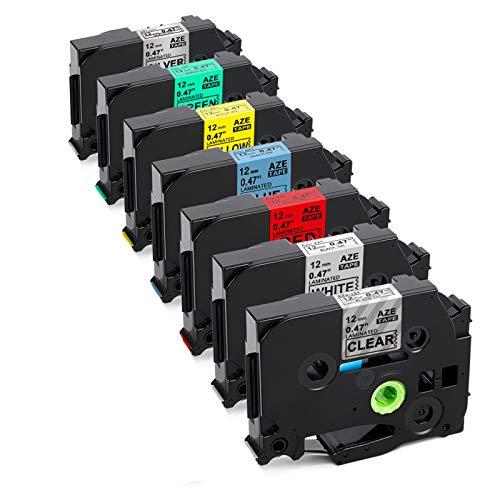 Upwinning kompatibel Schriftbänder als Ersatz für Brother P-touch TZe-231 12mm 0.47 Laminiert Bänd, schwarz auf transparent/weiß/rot/blau/gelb/grün/silber AZe Tapes für Ptouch Etikettenband, 7x