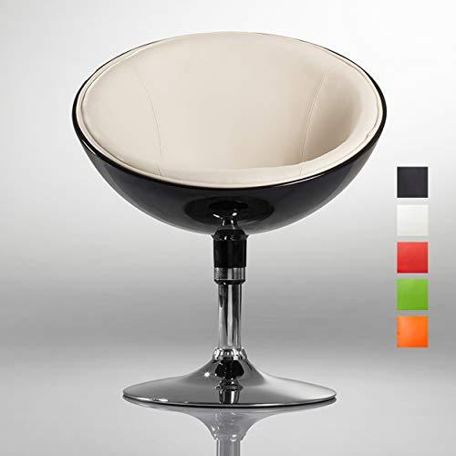 Lounge Sessel in Schwarz Clubsessel Kunststoff Kunstleder Cocktailsessel Retro Design Sessel Duhome 0615