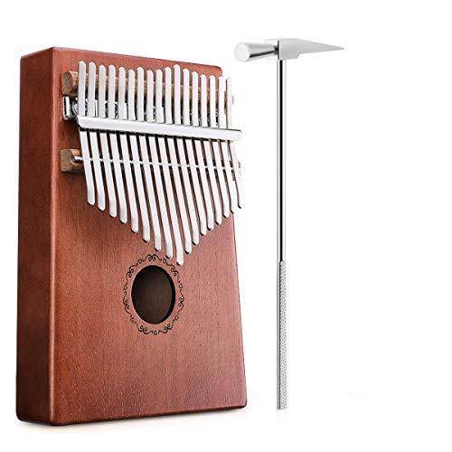 NASUM Daumenklavier Kalimba, Karimba Instrument 17 Schlüssel solid Finger Klavier, Akazienholz, mit Stimmwerkzeug, Musikinstrument Geschenk mit Tragetasche