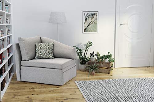 DOMO. collection Delta Sofa, Schlafsofa, Schlafsessel, Gästebett, tiny couch, Ecksessel, grau, 116x81x83 cm