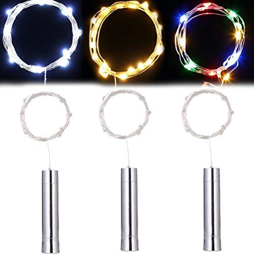 Ooscy 3 lámparas LED de alambre de cobre galvanizadas para botellas de vino, lámpara de alambre de cobre, lámpara de Navidad, decoración (blanco cálido, blanco, color)