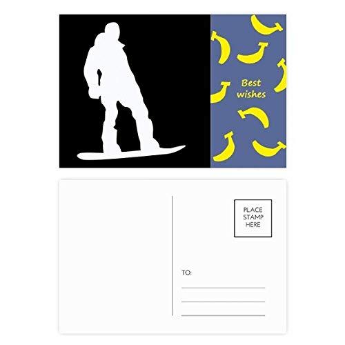 DIYthinker Skateboardfahren Sport Schwarz Silhouette Muster Banane Postkartenset dankt Karte Mailing Side 20pcs 5.7 Zoll x 3.8 Zoll Mehrfarbig