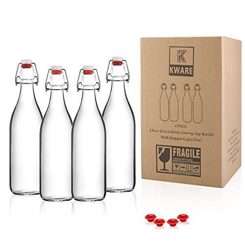 Kware - Best Large Swing Top Glass Bottle [33.75 oz/1 liter] - Giara Glass Bottle with Stopper - Caps Gasket Seal Airtight, for Kombucha, Oil, Vinegar, Beverages, Kefir - Clear [Set of 4]