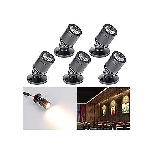 [360 ° drehen] Elitlife 5 stk Mini LED Einbaustrahler Minispot Einbauleuchte Aluminium Warmweiß mit Transformer Silber Kleiderschrank (Schwarz Warmweiß)