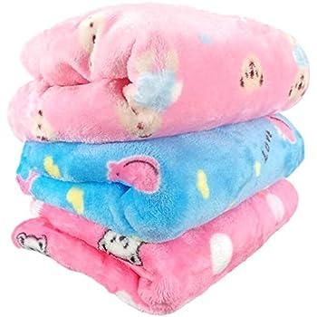 Uber World Sherin & Poly Wool Baby Newborn Ac Blanket (0-9 Months, Blue & Pink, 3 Piece)