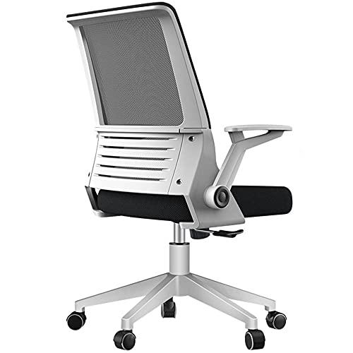 Sedia ergonomica regolabile con funzione di inclinazione, schienale in rete, seduta media, sedia da ufficio con braccioli regolabili per casa e ufficio, colore: bianco