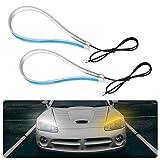 Qiilu Luz diurna LED de 60 cm, lámpara decorativa Tubo suave ultradelgado de doble color para coche Tira LED Tira de luz diurna Lámpara de señal de giro