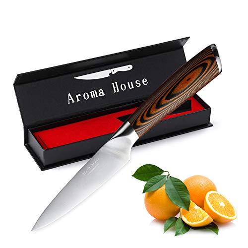 Aroma House Couteau à Fruits Couteau de Cuisine Petit Couteau d'office de 10 cm Lame forgée très tranchante Poignée Ergonomique Couverts en Acier Inoxydable Allemand