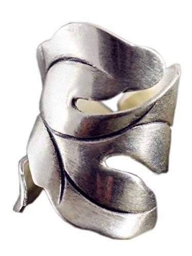 NicoWerk Damen Silberring aus 925 Sterling Silber - Breiter Ring im Vintage Stil - Keltisches Design Ring verstellbar - Geschenkverpackung - 190