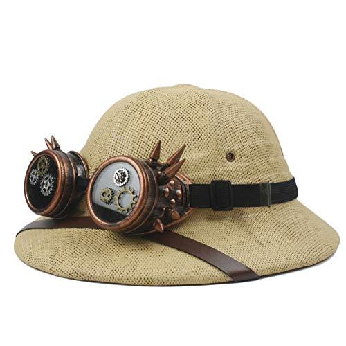 Bajie Sonnenhut Strohhelm Pith Sonnenhut Damen Herren Armee Hut Dampfbrille Jungle Bergmann Cap 56–59 cm