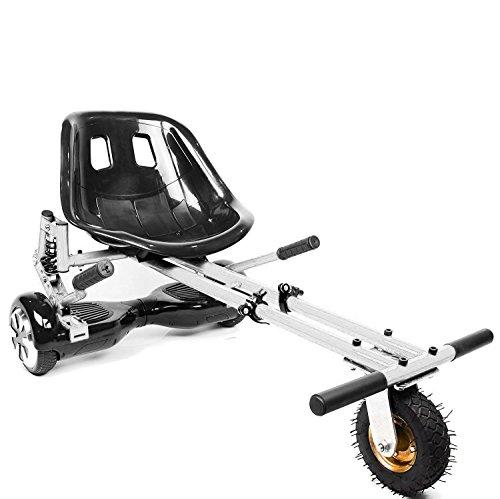 """2020 Suspension HoverKart para Hoverboards, accesorios con neumáticos todoterreno delanteros - Compatible con patineta de dos ruedas de 6.5 """"8"""" y 10 pulgadas con auto equilibrio (Blanco)"""