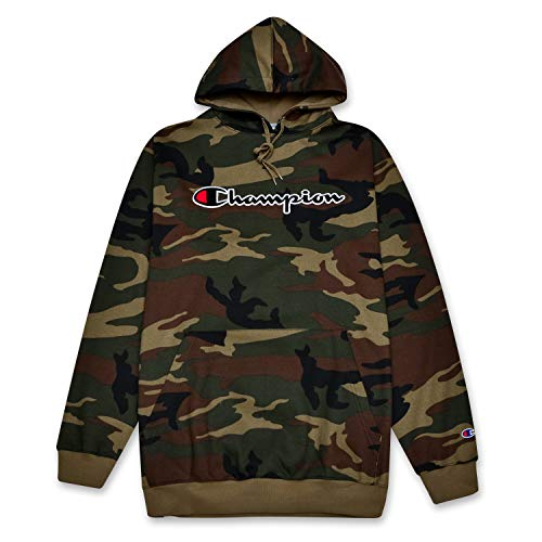 Champion Mens Big and Tall Hoodie Sweatshirt With Embroidered Script Logo Camo Maryland