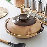 Cazuela de hierro Plato de cazuela aislada con tapa, cazuela de cerámica poco profunda, olla caliente, olla de arcilla de cazuela de donabe de tierra, olla de sopa de sopa, utensilios de cocina de sop