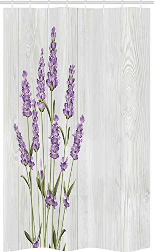 ABAKUHAUS Lavendel Schmaler Duschvorhang, Kräuter-Bouquet auf Holz, Badezimmer Deko Set aus Stoff mit Haken, 120 x 180 cm, Lavendel Olivgrün & Pale Grau