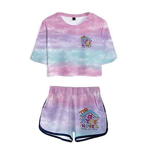HYPETY Filles The Hype House Crop Tops + Shorts Ensembles, Vêtements De Yoga pour l'exercice, T-Shirt Running Sportswear Et Survêtement À Manches Courtes pour L'été,D,L