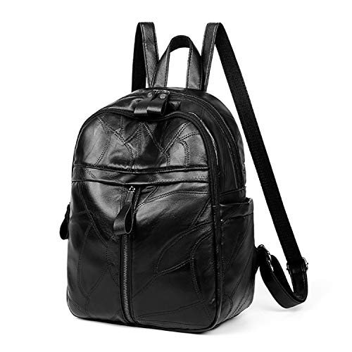 SHENAISHIREN Women Daypack/Backpack Lightweight Stylish Purse Waterproof Polyester or PU Leather Fashion Shoulder Bag Anti-theft Travel Daypack Rucksack (Color : Black, Size : OneSize)