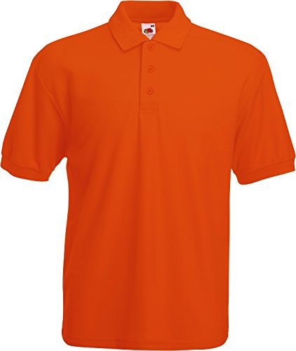 Fruit of the Loom Männer 65/35, Piqué-Polo, normale Passform, Kurzarm, Polo-Shirt Gr. XXL, Orange