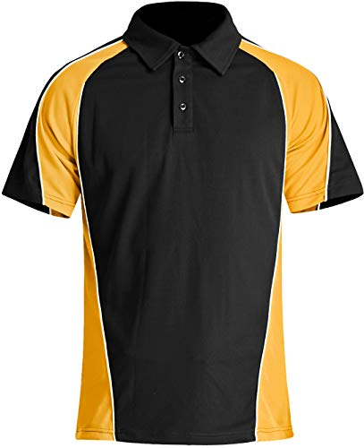 Outdoor Hemd Herren Kurzarm Polo Shirt Sommer Casual T-shirt Tennis Golf Shirt Atmungsaktiv Leichte Hemden Camping Wandern Hemd Männer Arbeit Shirts Tops jagd Angeln Hemd Poloshirt Gelb Schwarz Yellow